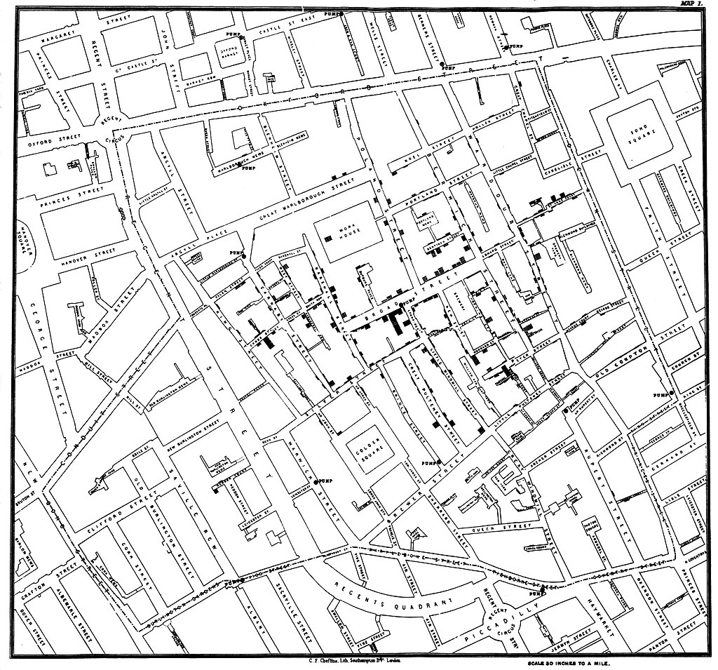 A map showing cases of cholera in London in 1854.