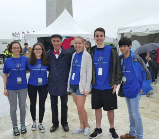 Sophia Swartz (left) met Bill Nye the Science Guy at last year's March for Science.