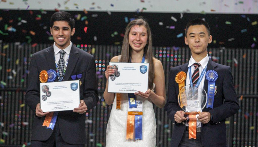 Karan Jerath, Nicole Ticea, and Raymond Wang at the Intel ISEF 2015 Grand Awards Ceremony
