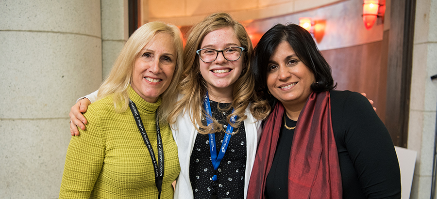 Paula Golden, Executive Director of the Broadcom Foundation, Eleanor Sigrest, Broadcom MASTERS 2016 top winner, and Maya Ajmera, President and CEO of the Society for Science & the Public at the Broadcom MASTERS 2017 alumni reception.