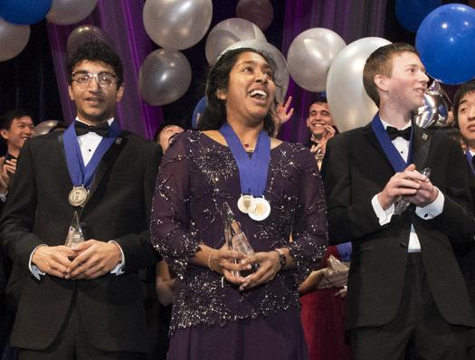 The top three winners of the 2017 Regeneron Science Talent Search at the Awards Gala on March 14.