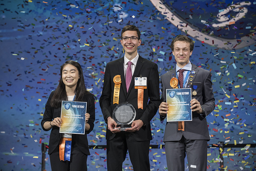 Amber Yang, Ivo Zell, and Valerio Pagliarino won the top awards at the Intel ISEF 2017. PHOTO COURTESY OF SOCIETY FOR SCIENCE & THE PUBLIC/CHRIS AYERS PHOTOGRAPHY.