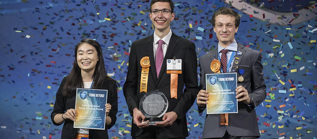 Amber Yang, Ivo Zell, and Valerio Pagliarino won the top awards at the Intel ISEF 2017.