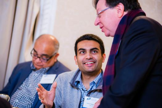 Alum Naren Tallapragda met other alumni during the brunch.
