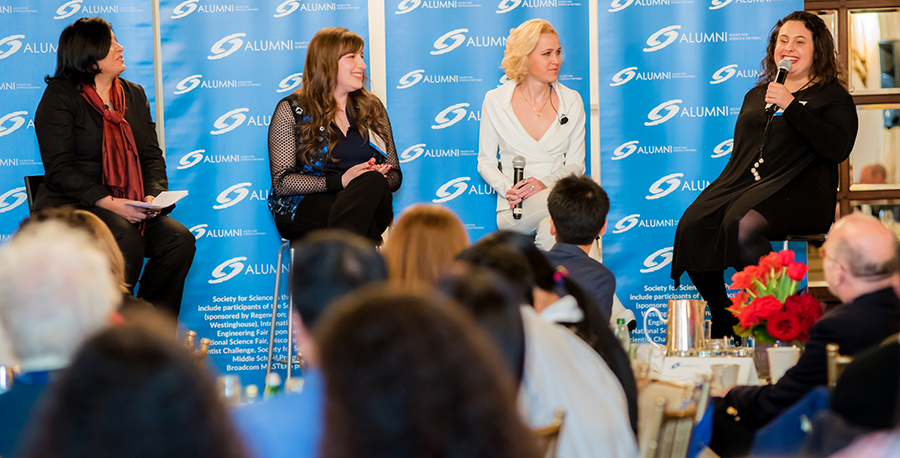 An all-woman panel discussed challenges and successes in STEM at the alumni brunch during the 2017 Regeneron STS.