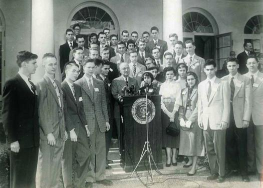 The 1952 Westinghouse Science Talent Search finalists met with President Harry Truman.
