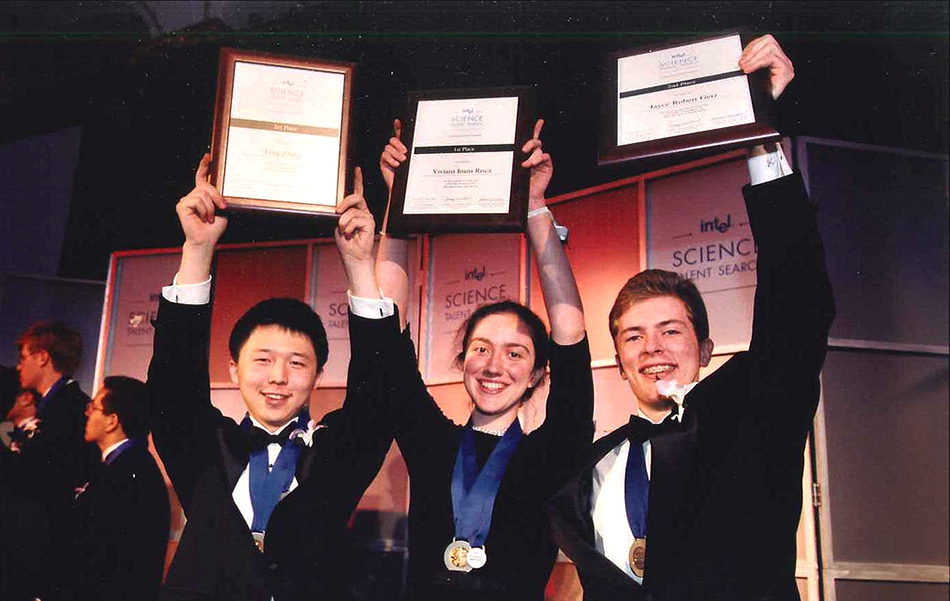 Intel STS 2000 top three winners, including Feng Zhang (left).