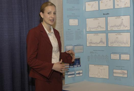 Maria explains her meteor detection project in the 2004 Science Talent Search.