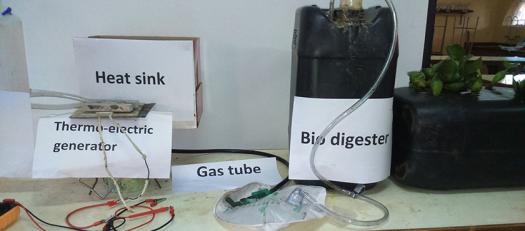 Macdonald's biogas digester setup, which can convert biogas to cooking oil and electricity.