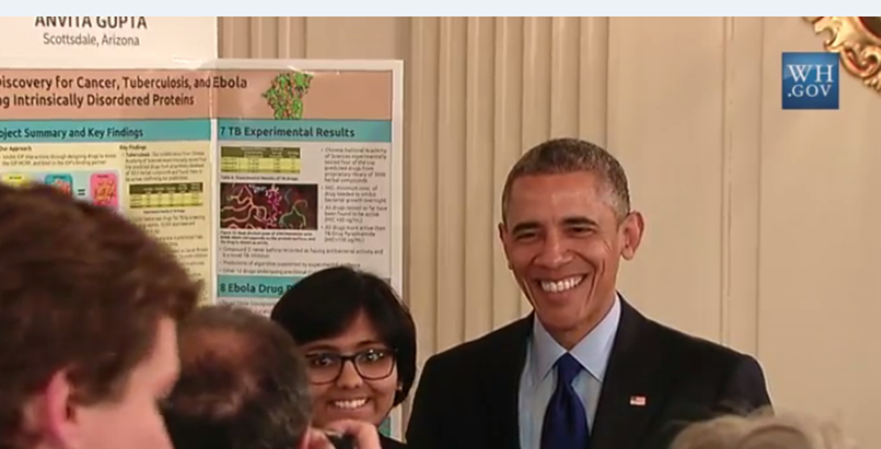 Anvita Gupta, Intel ISEF 2013 and Intel STS 2015 award winner, impressed President Obama with her research and creation of a computer program that can identify new drugs.