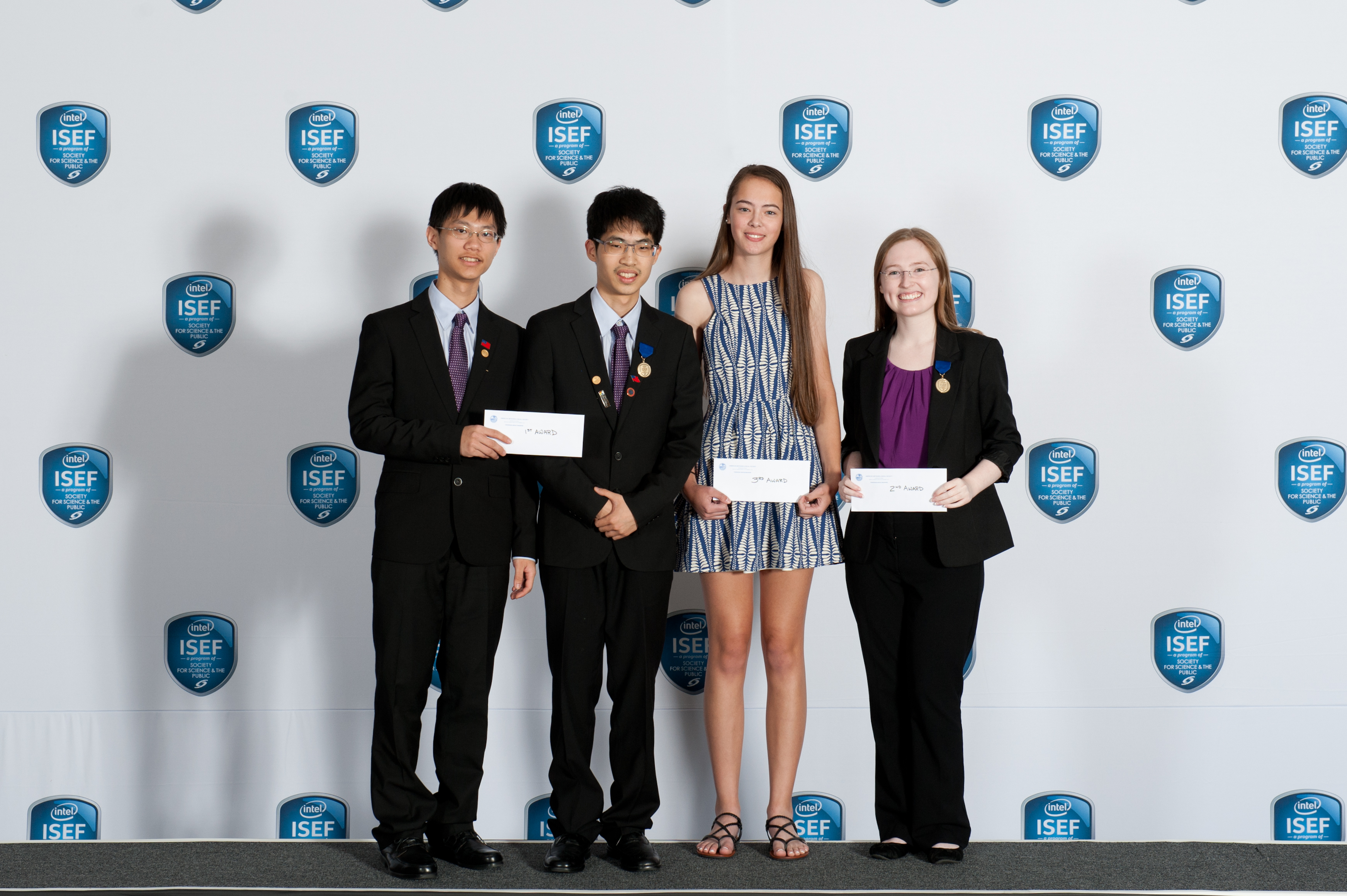 AMS award winners from Intel ISEF 2016, including Stephanie Shi-Ning Mui, Ekaterina Lebedeva, Phuong Anh Tran, Muhammad Ugur oglu Abdulla, Pei-Hsuan Chang, Qingxuan Jiang, Osvaldo J. Pagan, Dariannette Valentin.