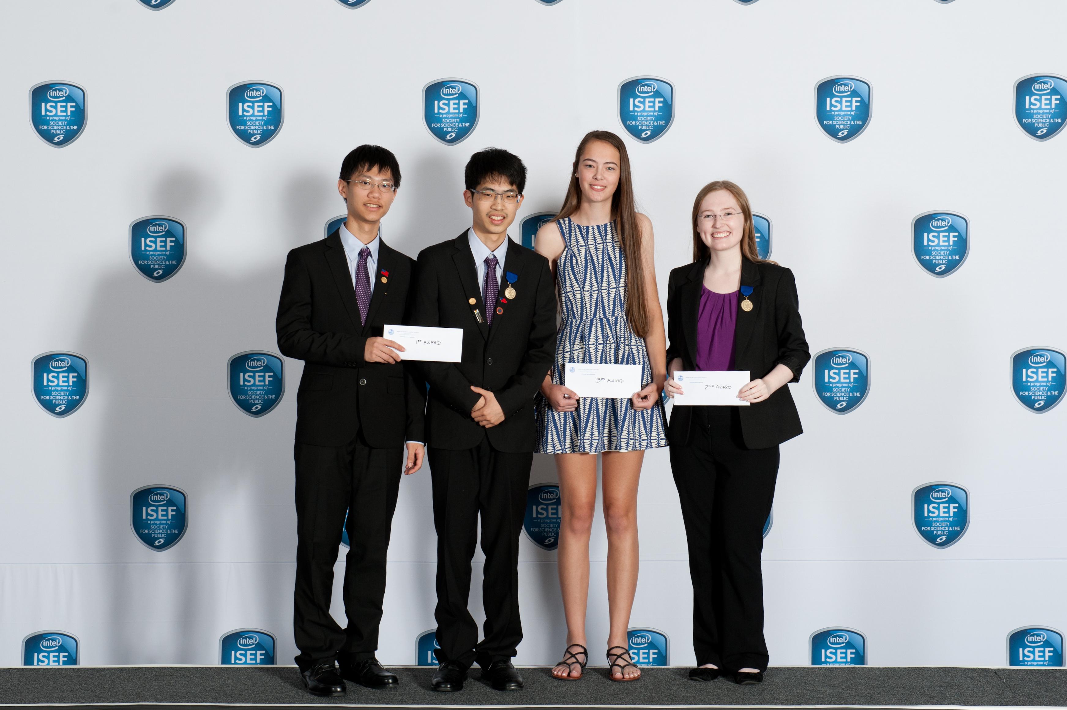 AMS award winners from Intel ISEF 2016, including Stephanie Shi-Ning Mui, Ekaterina Lebedeva, Phuong Anh Tran, Muhammad Ugur oglu Abdulla, Pei-Hsuan Chang, Qingxuan Jiang, Osvaldo J. Pagan, and Dariannette Valentin.