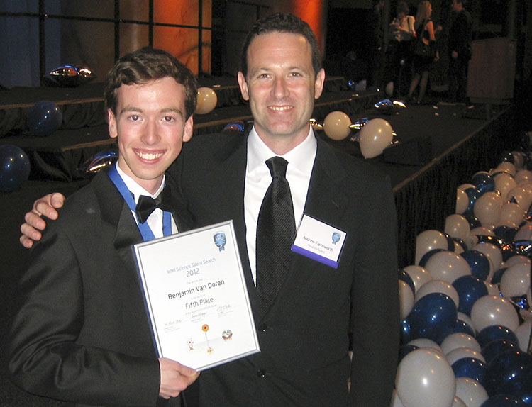 Benjamin and his research mentor Andrew Farnsworth at the Intel STS 2012 Awards Gala.