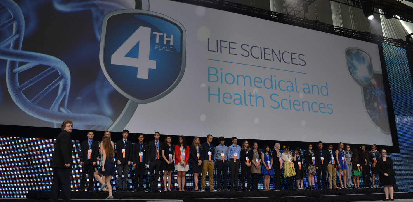 Aditya among his peers being awarded the Intel ISEF Fourth Place Award in Biomedical and Health Sciences.