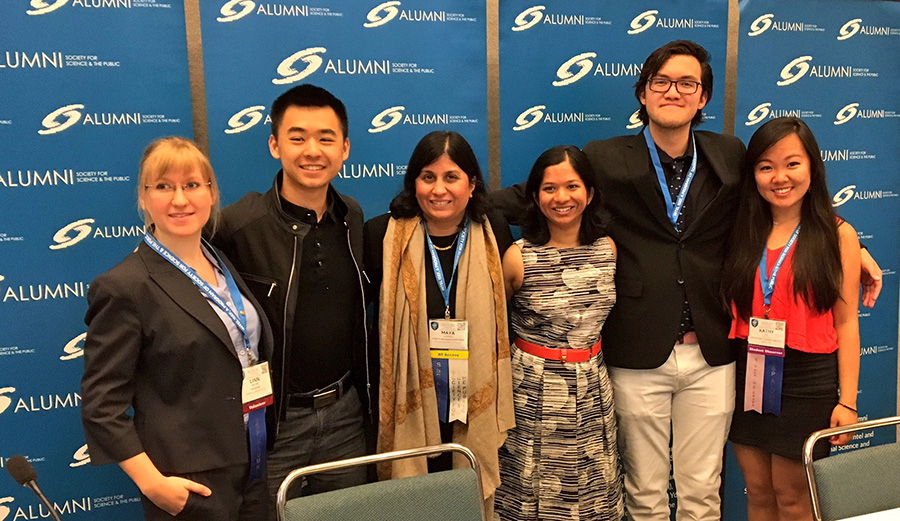 Linn, Raymond, Maya Ajmera, Diya, Christopher, and Kathy at an Intel ISEF 2017 symposia session.