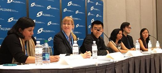 Maya Ajmera posed questions to recent Intel ISEF alumni.