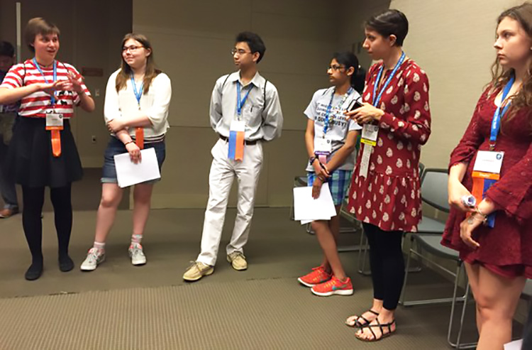 Bethany offered advice while Intel ISEF finalists explained their projects.
