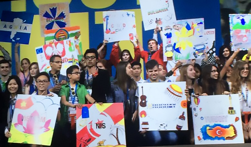 Intel ISEF 2016 finalists held up their country posters on stage at the opening ceremony Monday night.