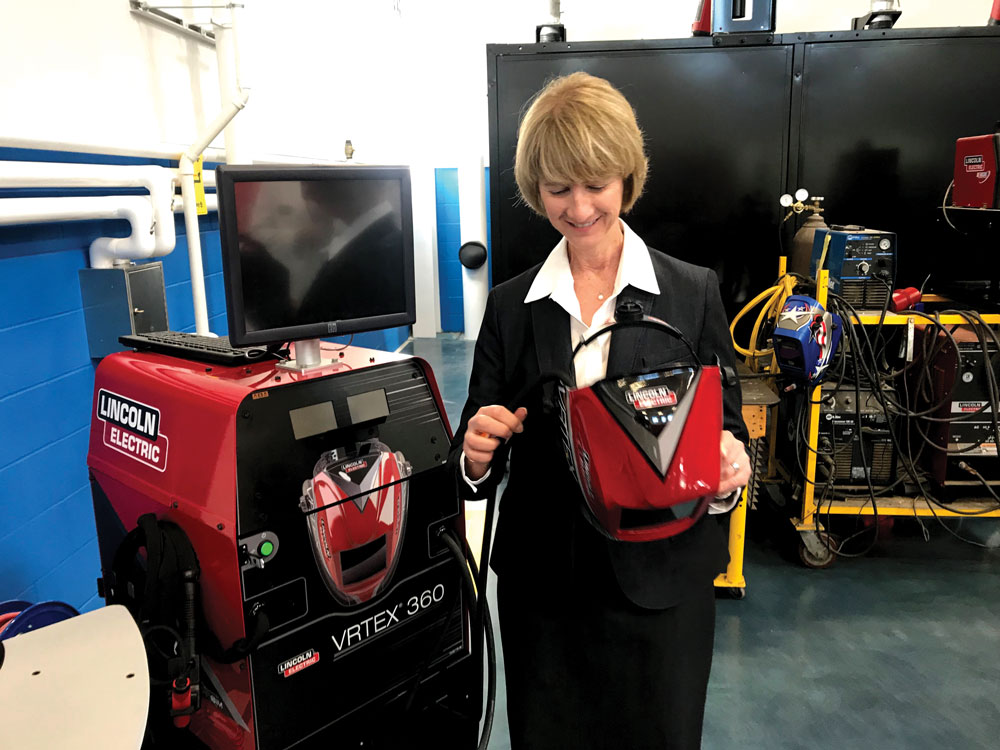 Chancellor Kristina Johnson visits the Institute for Advanced Manufacturing at Clinton Community College, a member of The State University of New York system.
