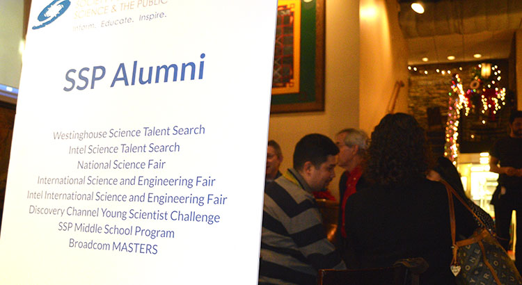 Society alumni gathered to share drinks, food, and memories of when they competed in the Society's programs.