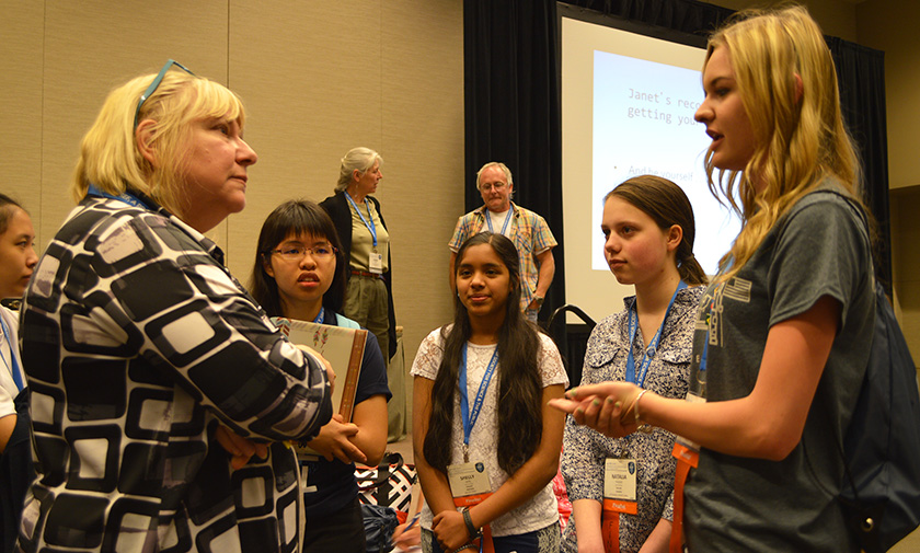 Janet Raloff, editor of Science News for Students, offered advice to Intel ISEF finalists giving their elevator pitches about their projects.