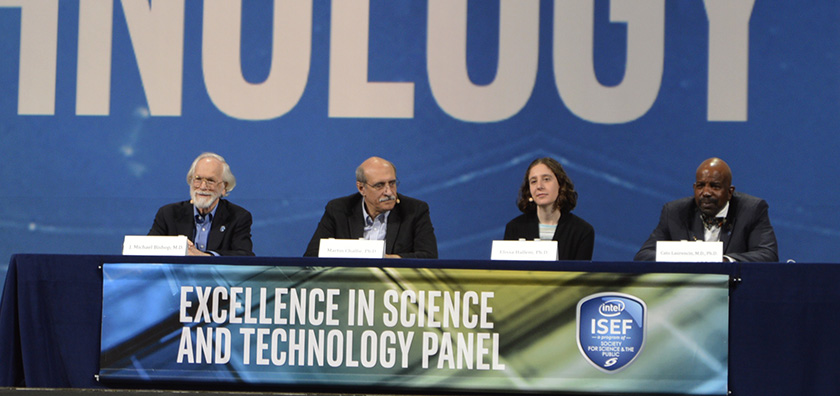 From left: Michael Bishop, Martin Chalfie, Elissa Hallem, and Cato Laurencin discussed important traits of scientists.