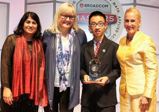 Nathan holds his award with President & CEO of the Society Maya Ajmera (left), Executive Director of the Lemelson Foundation Carol Dahl, and President of the Broadcom Foundation Paula Golden.
