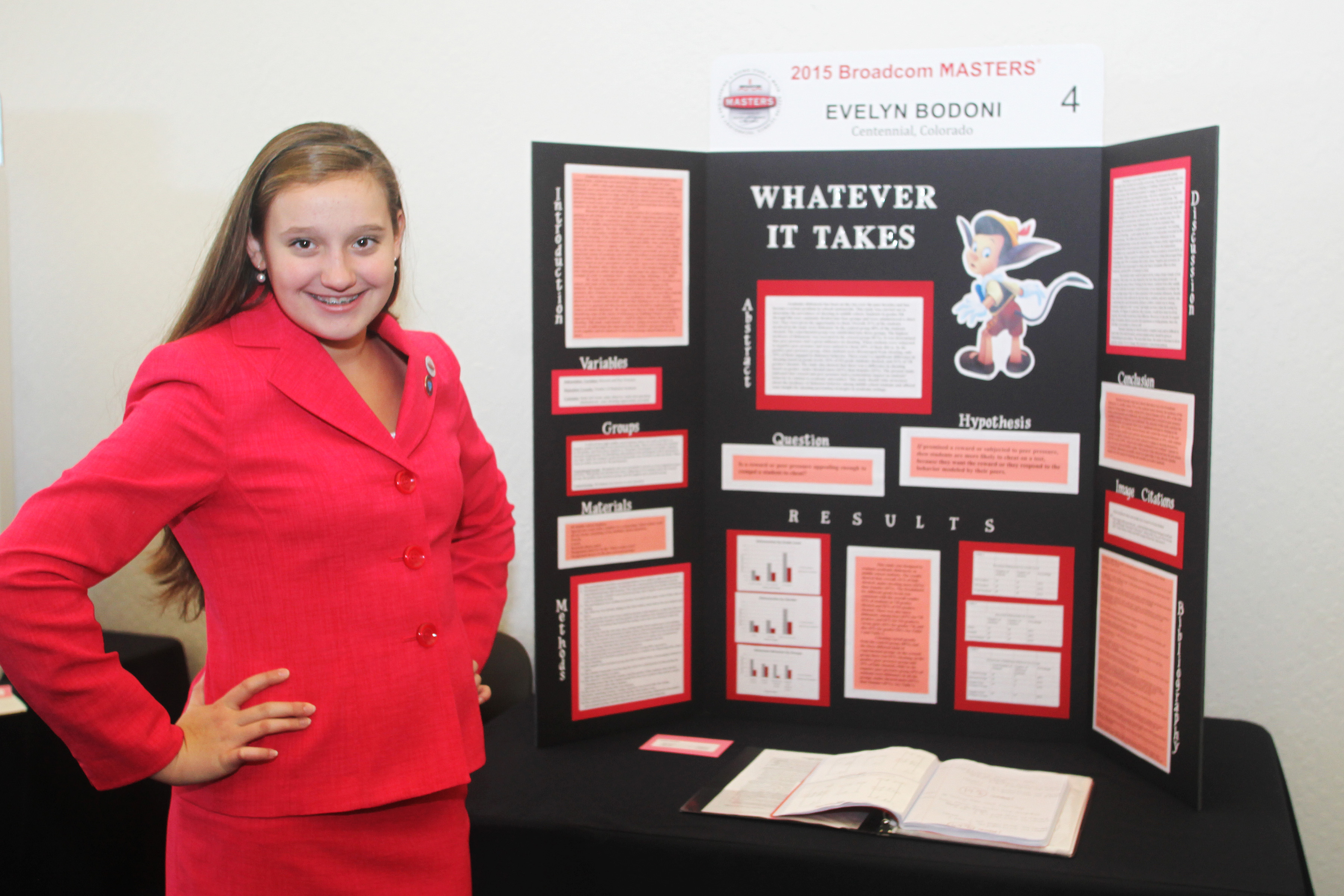 Evelyn explains her 2015 Broadcom MASTERS project to the public.