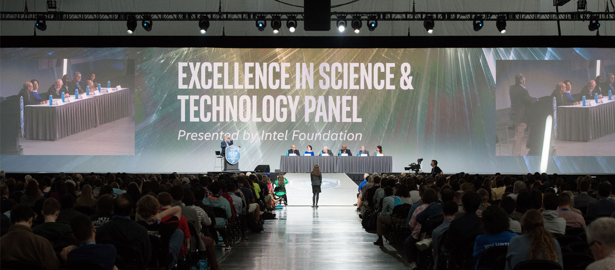 """Scientists speak at the """"Excellence in Science and Technology Panel,"""" presented by the Intel Foundation. Photo Courtesy of Chris Ayers/Society for Science & the Public."""