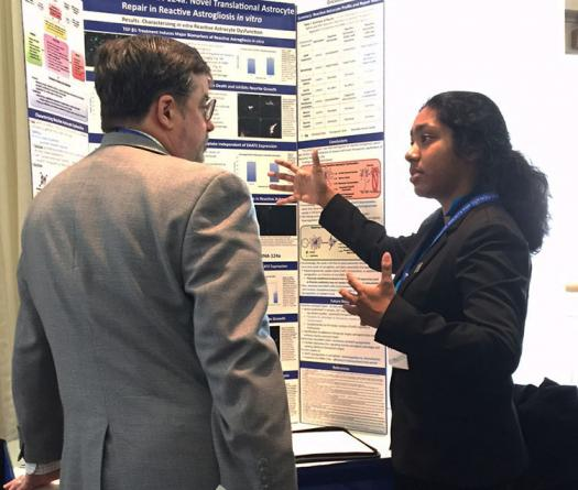 Indrani researched certain cells involved in brain injuries in her high school's lab.