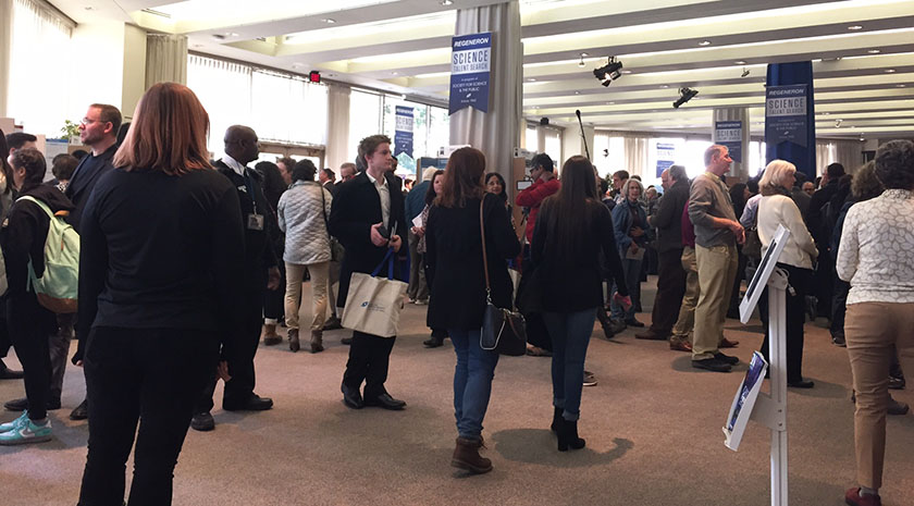 Members of the public , students, and Society alumni learned about the 2017 Regeneron STS finalists' research.