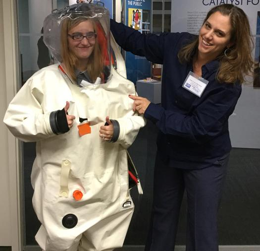 Elizabeth's students donned biohazard suits at the CDC in Atlanta.