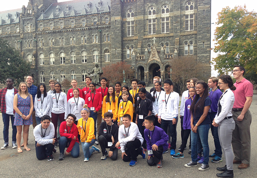 The 2016 Broadcom MASTERS finalists toured Georgetown University and met with first-year medical students.