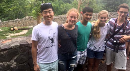 Michael Lee, Erin Smith, Karthik Yegnesh, Camille Miles, and Tassilo Schwarz saw a panda on their visit.
