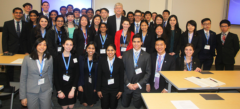 NIH Director Francis Collins encouraged Intel STS 2016 finalists to keep their horizons open.