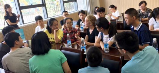 The Intel ISEF finalists met with Chinese students during their award trip.