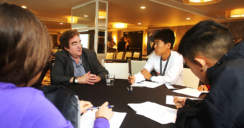 The Broadcom MASTERS finalists discussed scientific career paths with Robert Beckman during the career panel.