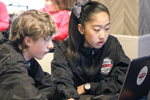 Emily Tianshi (right) worked with her team on the Raspberry Pi challenge at Broadcom MASTERS 2017.