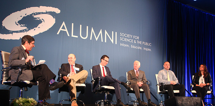 From left: Science Talent Search alumni Paul Maddon, Daniel Skovronsky, Robert Sproull, George Yancopoulos and Hayley Bay Barna discuss their journeys to become entrepreneurs.