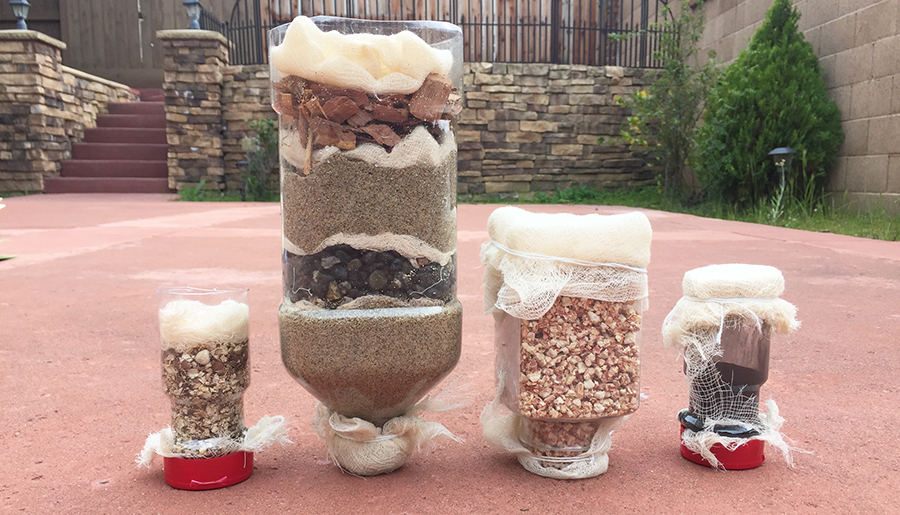 Akshara and Suditi tested different natural materials in greywater filtration.