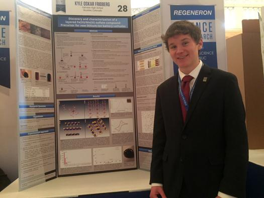 Kyle Fridberg developed a new compound that may be used for safer, more efficient rechargeable batteries.