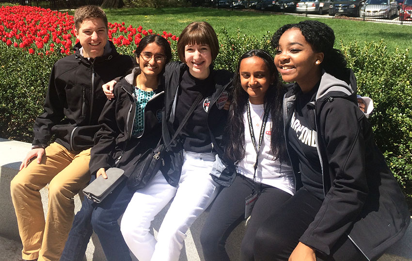 (From left) Society alumni Nathan Marshall, Maya Varma, Annie Ostojic, Hari Bhimaraju, and Augusta Uwamanzu-Nna outside the 2016 White House Science Fair.