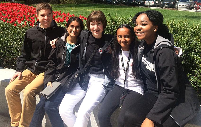 (From left) Society alumni Nathan Marshall, Maya Varma, Annie Ostojic, Hari Bhimaraju, and Augusta Uwamanzu-Nna outside the 2016 White House Science Fair.