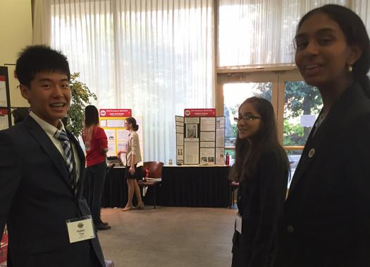 Kaien discusses his project with other Broadcom MASTERS 2016 finalists.