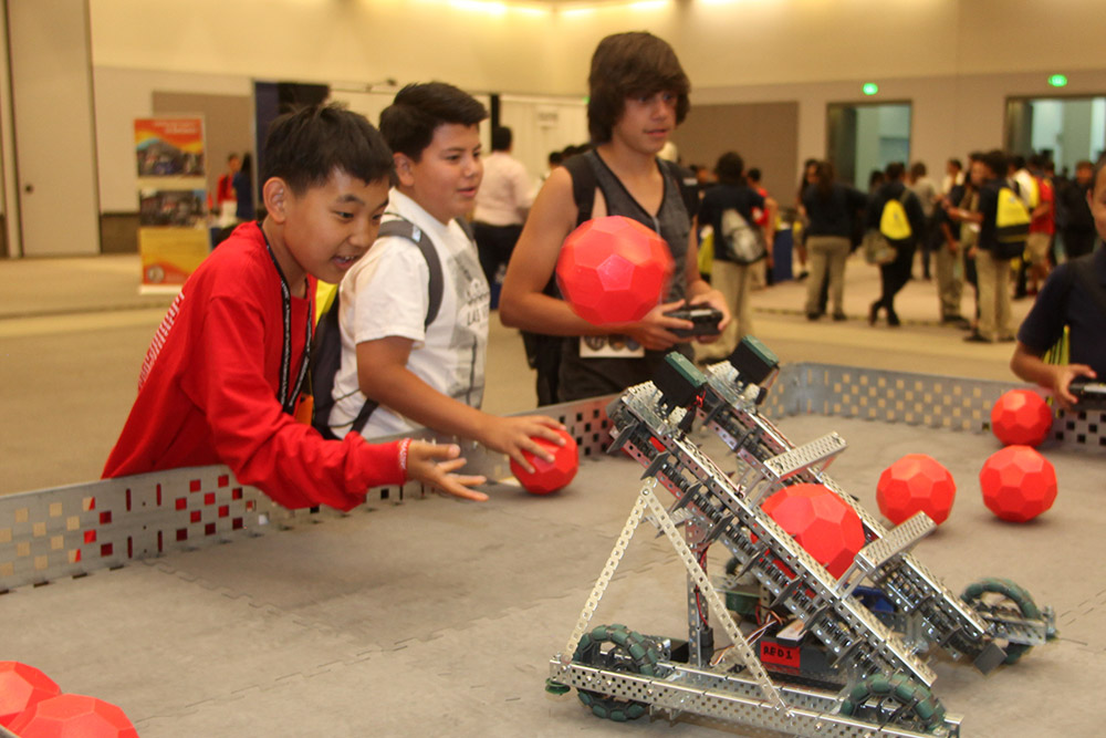 Delegates got to play with VEX Robotics robots in the Expo hall.