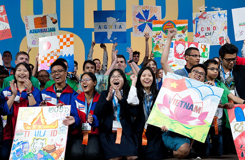 At Intel ISEF 2016, finalists display posters from their countries during the opening ceremony.