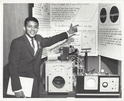 John Taboada Sr. in front of his project board at ISEF 1962