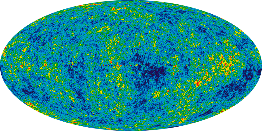 A nine-year Wilkinson Microwave Anisotropy Probe image of cosmic microwave background radiation.