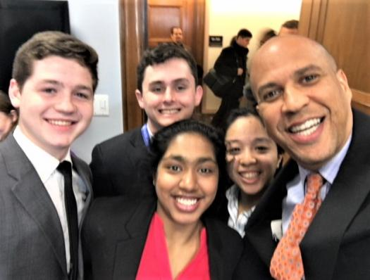Indrani with her state Senator, Cory Booker, and fellow finalists on Hill Day