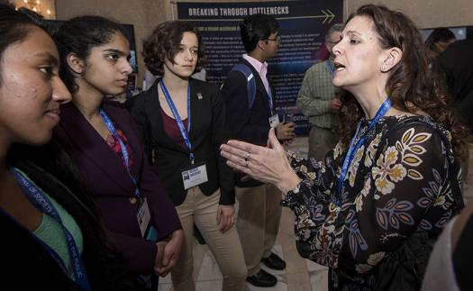 Bari Kowal, Regeneron's Vice President and Head of Global Clinical Project Management & Operations, speaks with the finalists at the reception.